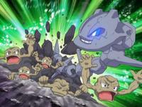 Steelix atacando a los Geodudes