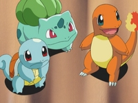 Bulbasaur Charmander y Squirtle
