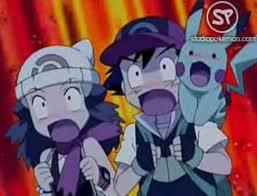 Ash y Dawn asustados