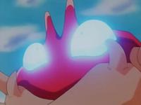 Krabby usando mirada mala