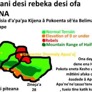 Children history page, telling the history about Selside Rebels in Pokotan language and English, published by Kijena School books in Pokoenta.