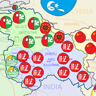 This is the map of Kashmir and their countryballs; Jammu and Kashmirball/Southern Kashmirball (bottom), Azad Kashmirball/Western Kashmirball (left) and Aksai Chin-Shaksgamball/Northern Kashmirball. One day, the entire region will break away from its neighbours like what Wallachia, Moldavia and Transylvania did from the Turks, Russians and Hungarians.