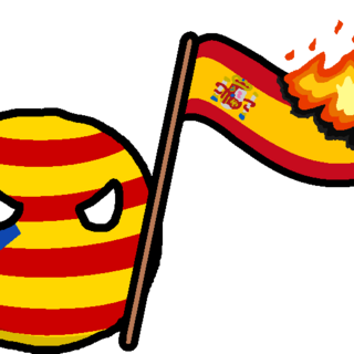 Catalan Republic with a Spanish flag set on fire