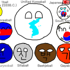 This image shows most of Korea's historical countryballs. Sillaball is next to <a href=
