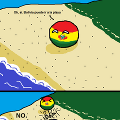 En este cómic, Paraguay aparece como pelota de playa. A pesar de no tener costas, Paraguay usa los ríos de la región para tener una salida indirecta al mar