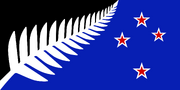 NZ flag design Silver Fern (Black, White & Blue) by Kyle Lockwood