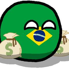 Brazilball happly holding 2 bags full of monies