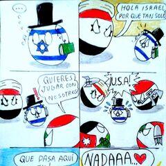 Desde el comienzo, Israel se ha ganado la antipatía de las naciones árabes. En este cómic Israel aparece como una ball.