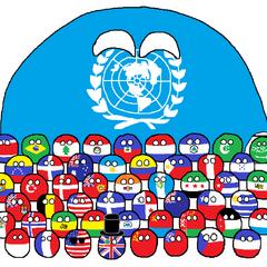 la ONU y sus miembros fundadores (banderas de 1945, exceptuando Bielorrusia y Ucrania, cada una con las banderas de los 50s)