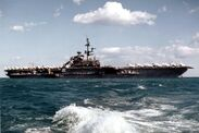 USS Franklin D. Roosevelt (CV-42) at anchor in 1976