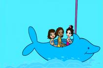 Lila, Shani, and Anna Dolphin ride