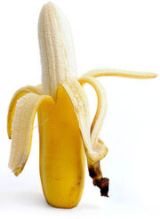 Banana (partially peeled)
