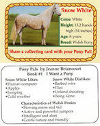 1 Snow White collecting card front and back Pony Pals I Want a Pony