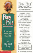 Pony Pals 15 The Blind Pony bookmark front and back