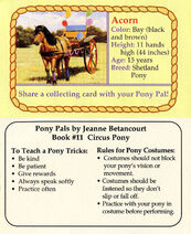 11 Acorn collecting card front and back Pony Pals Circus Pony