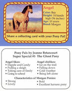 SS3 Angel collecting card front and back Pony Pals The Ghost Pony