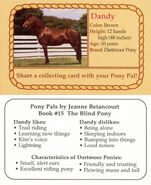15 Dandy collecting card front and back Pony Pals The Blind Pony