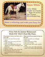 10 Snow White collecting card front and back Pony Pals Dont Hurt My Pony