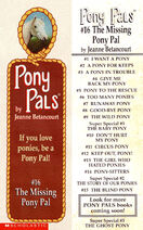 Pony Pals 16 The Missing Pony Pal bookmark front and back