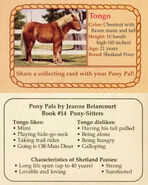 14 Tongo collecting card front and back Pony Pals Pony-Sitters