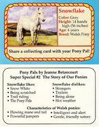 SS2 Snowflake collecting card front and back Pony Pals The Story of Our Ponies