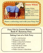 7 Snow White collecting card front and back Pony Pals Runaway Pony