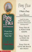 Pony Pals 1 I Want a Pony bookmark front and back