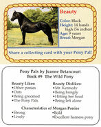 9 Beauty collecting card front and back Pony Pals The Wild Pony