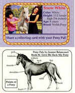 4 Snow White collecting card front and back Pony Pals Give Me Back My Pony