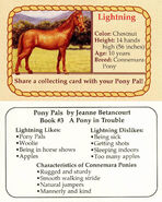 3 Lightning collecting card front and back Pony Pals A Pony in Trouble