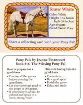 16 Snow White collecting card front and back Pony Pals The Missing Pony Pal