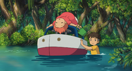 Sosuke pushes the boat