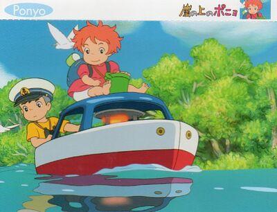Ponyo och Sosuke i båten som Titanic eller Vasa