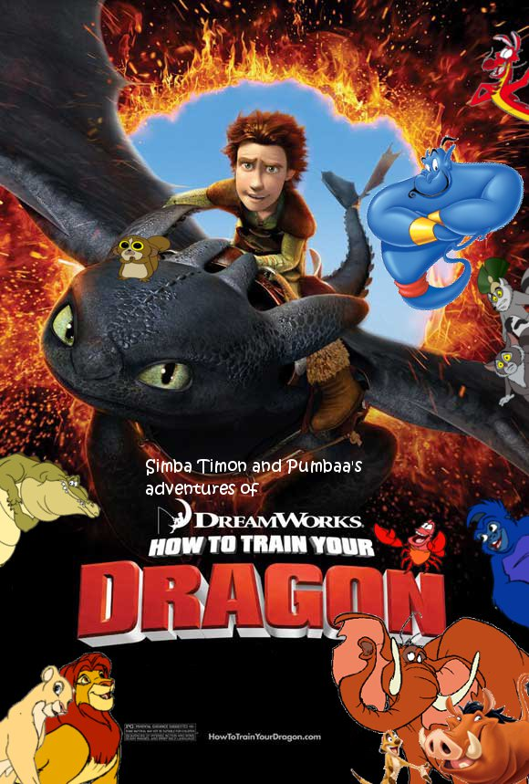 Simba Timon and Pumbaa's adventures of How to Train Your Dragon Poster