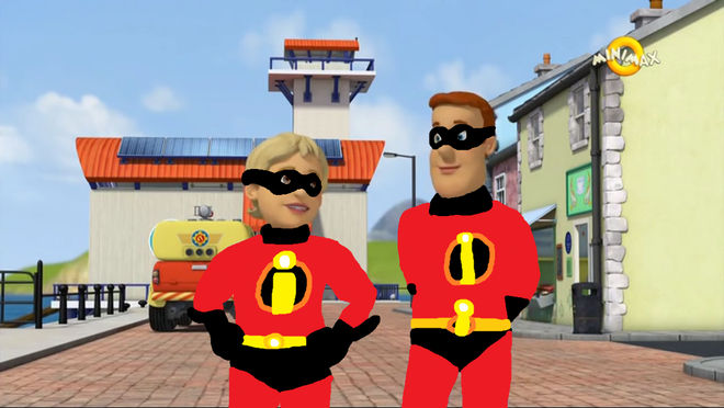 Sam and Penny in their Incredibles Outfits