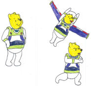 Pooh in his space ranger uniform in 3 poses by yakkowarnermovies101-d9q7ccn