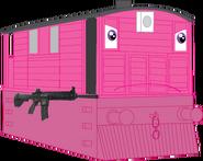 Rachel with her H&K 416 rifle
