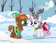 Button Mash and Sweetie Belle in the snow