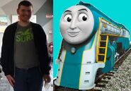 Connor Lacey and his train counterpart