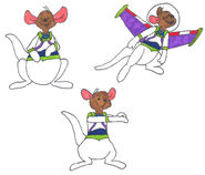 Roo in his space ranger uniform in 3 poses by yakkowarnermovies101-da3osid