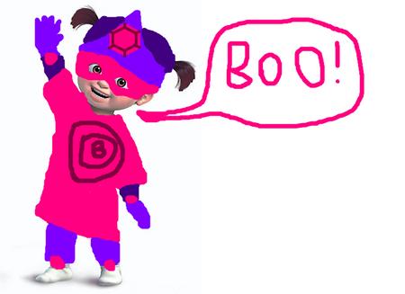 Boo in her super costume