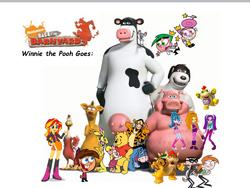 Winnie the Pooh goes back at the barnyard Logo