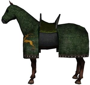 Caparisoned horse green