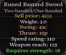 Runed Bastard Sword