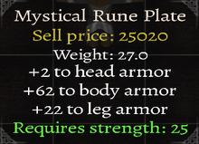 Mystical Rune Plate Stats