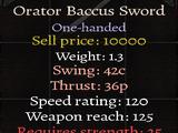 Orator Baccus Sword