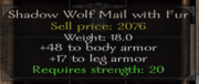 Shadow wolf mail with fur stats