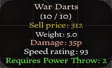 War Darts Stats