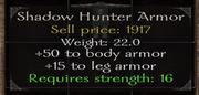 Shadow hunter armor stats