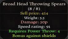 Broad Head Throwing Spears Stats